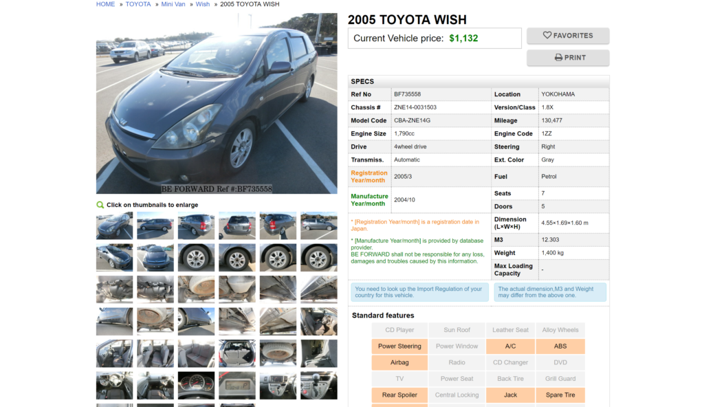 BE FORWARD - Car Details Page