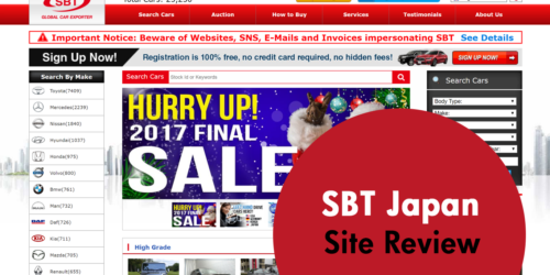 SBT Japan - Used Car Site Review